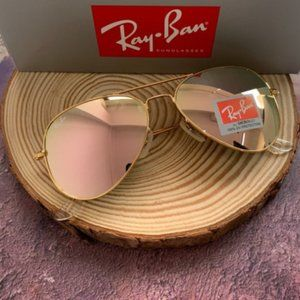 RayBan Gold Frame Pink Lenses 58mm RB3025 Aviator